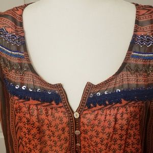 Free People Tops - Free people feather in the wild beaded tunic.